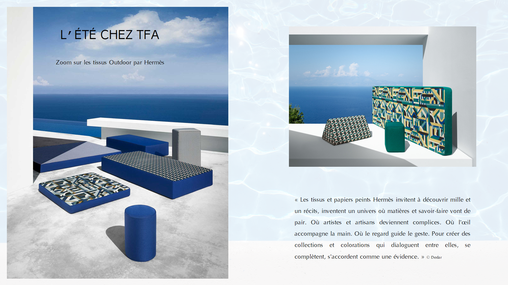 L Ete Chez Tfa Zoom Sur Les Tissus Outdoor Par Hermes Tissus D