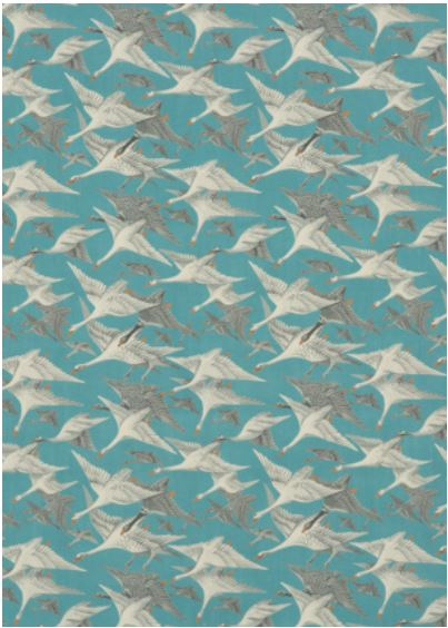 MULBERRY HOME WILD GEESE LINEN TEAL FD287 R11